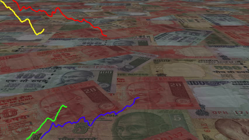 Four line graphs over scrolling Rupees animation - HD stock video clip