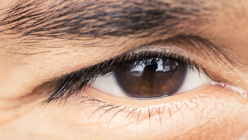 Multi ethnic man's eye closeup, extremely detailed RAW video capture
