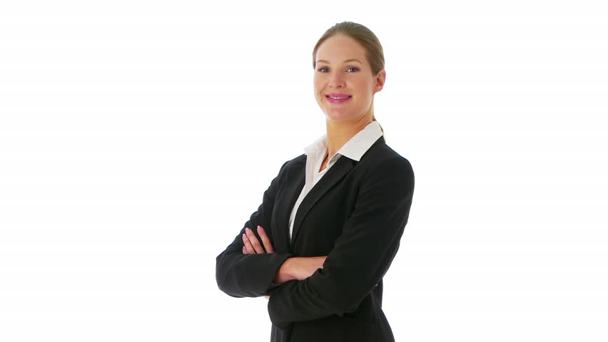 Confident businesswoman crossing arms and looking at camera - HD stock video clip