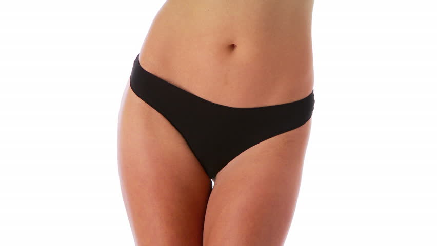 Young fit woman in black underwear - HD stock video clip