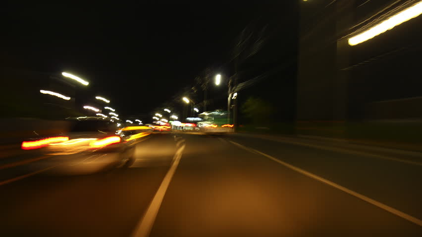 Time lapse of driving on Terwilliger road at night in south korea on hillside November 2015