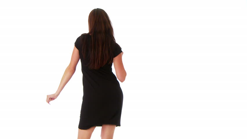 Young woman dancing on white background - HD stock video clip