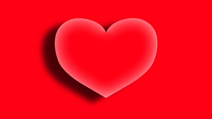 3D  heart appears on red background.2 D animation.