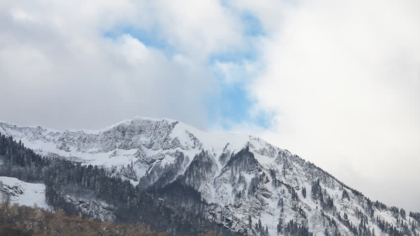 Snow Mountains Clouds - HD stock footage clip