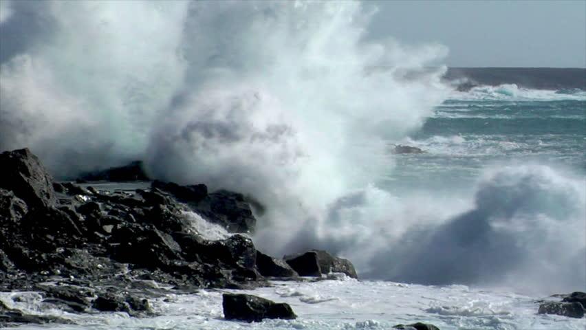 extreme wave crushing vulcan coast - HD stock video clip