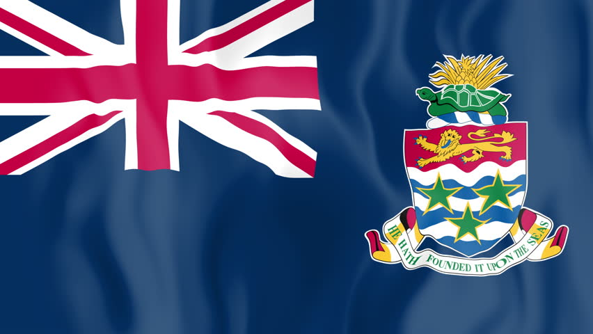 Animated flag of Cayman Islands in slow motion