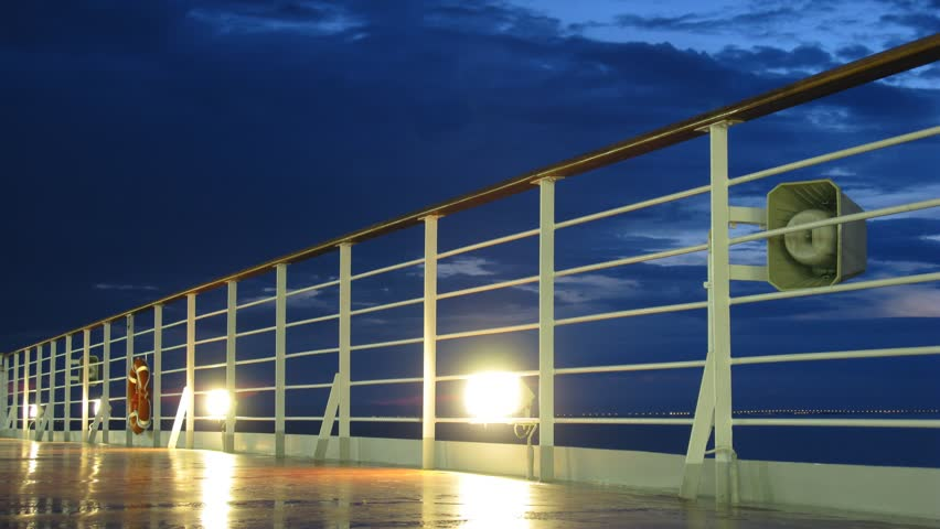 Night at Baltic sea, view from cruise liner, time lapse - HD stock footage clip