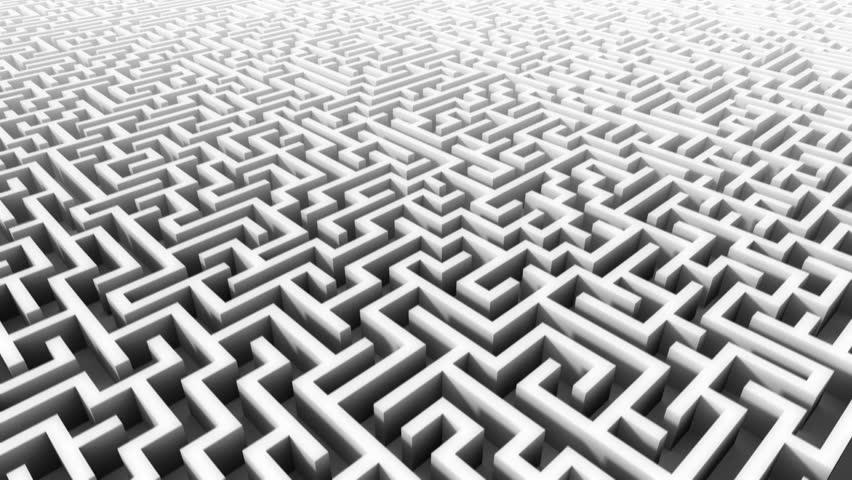 3d rising above huge endless maze