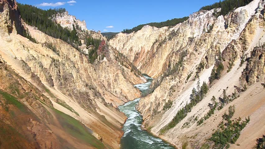 Yellowstone River winds through the Grand Canyon of The Yellowstone in Wyoming - HD stock footage clip
