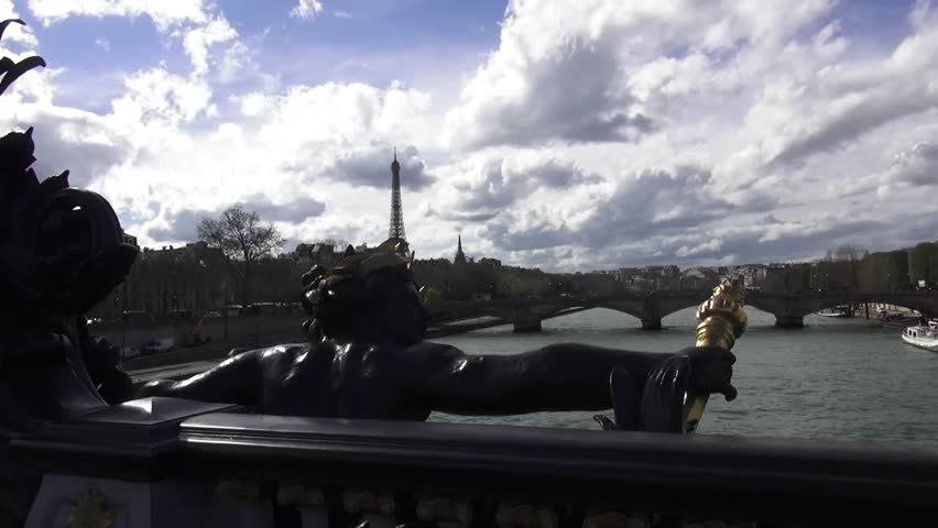 Statue on Pont Alexandre in Paris with Eiffel Tower in background - HD stock footage clip