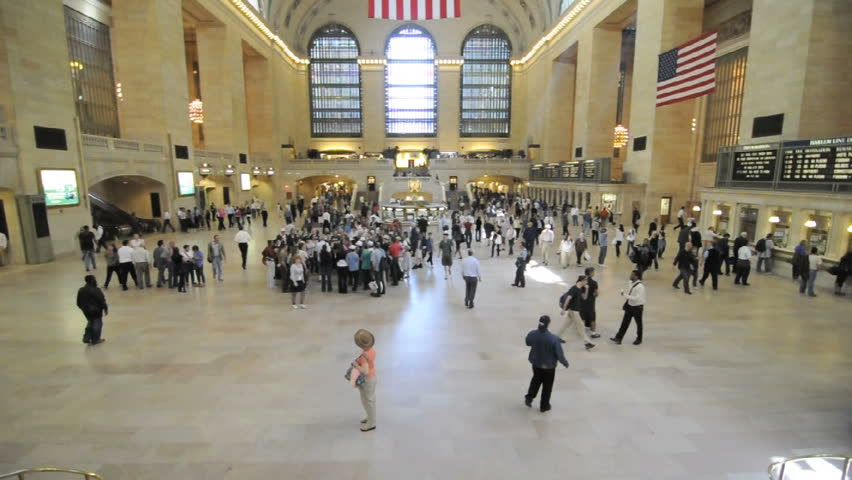 NEW YORK- CIRCA 2009 Timelapse of commuters in Grand Central Station in New York City, circa 2009. - HD stock footage clip