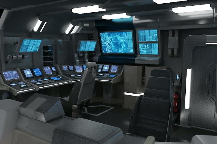3D animation of a sci-fi spaceship bridge with many screens.  - SD stock video clip