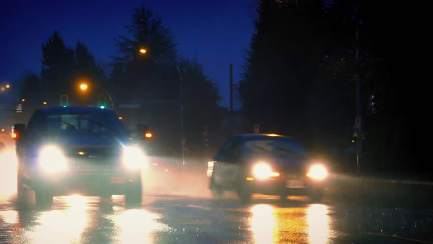Truck Headlights In Rain : Car headlight on rainy night heavy rain at with