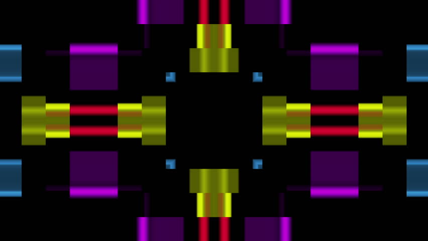 Multicolored Mosaic Digital kaleidoscope on black background - HD stock video clip