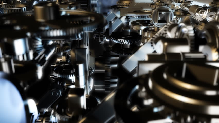 3d background with complex clockwork machinery. Seamless loop.
