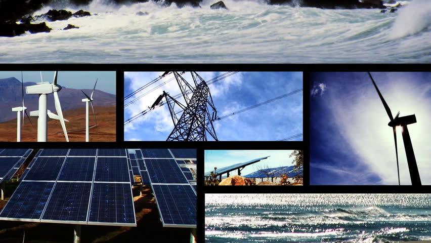 Clean energy power montage - HD stock video clip