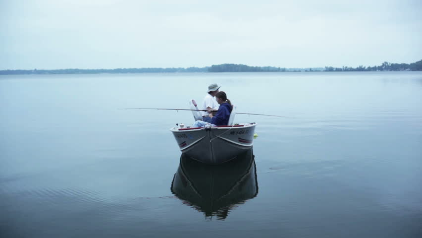 Man fishing in boat