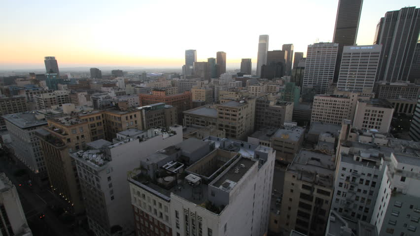 Spectaculat Time Lapse from a High Rise Building of a Sunset and Night Fall over Downtown Los Angeles