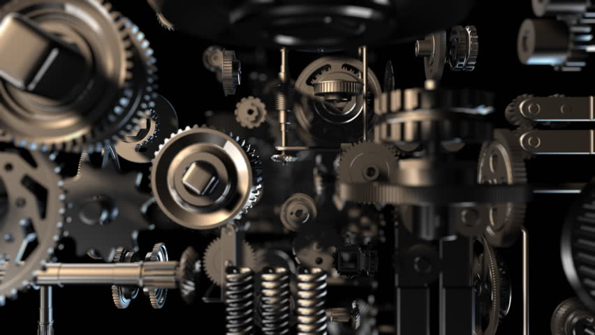 3d background with endless, complex clockwork machinery. Loop. Depth of field.
