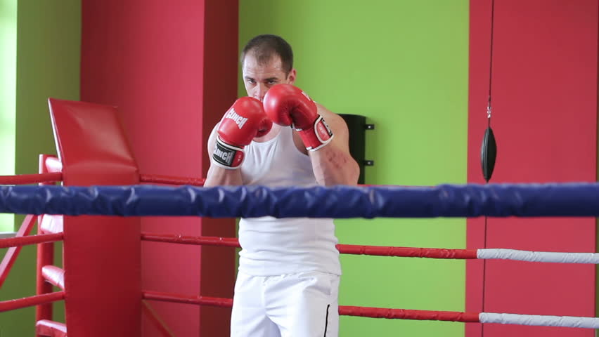 Training boxer. Kickboxer is working out blows in the ring