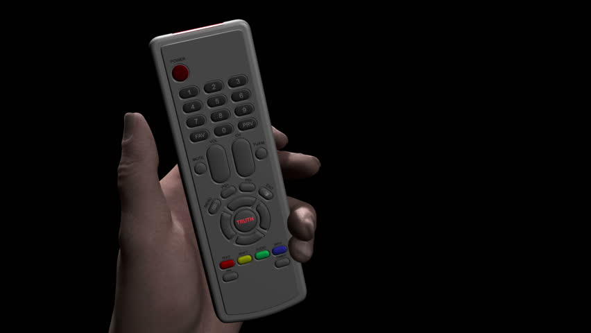 Male hand holds remote control and presses a button marked TRUTH