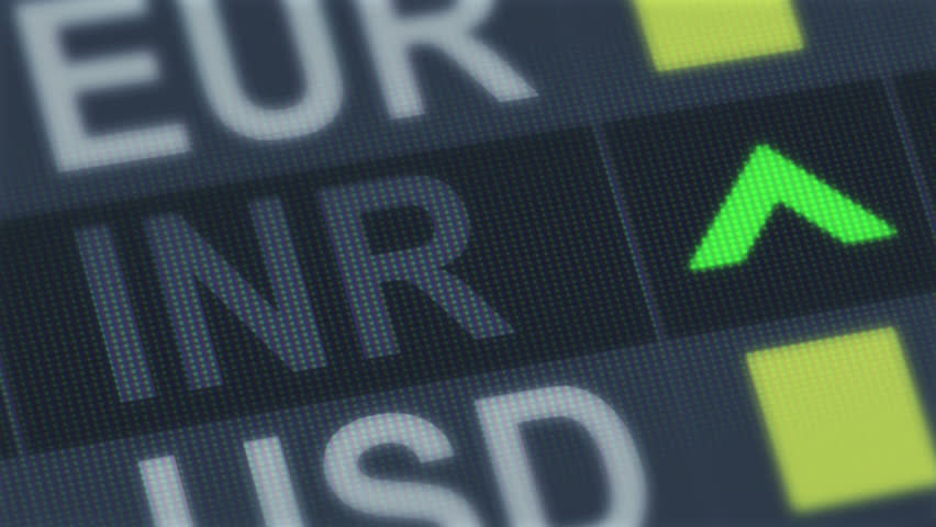 World exchange market. Currency rate fluctuating. Indian rupee rising, falling - HD stock footage clip
