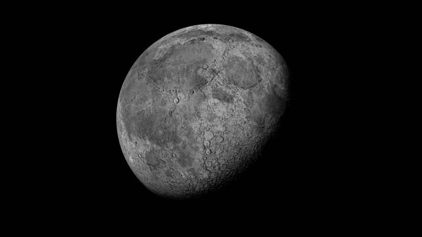 The planet Earth's moon rotates in black space.