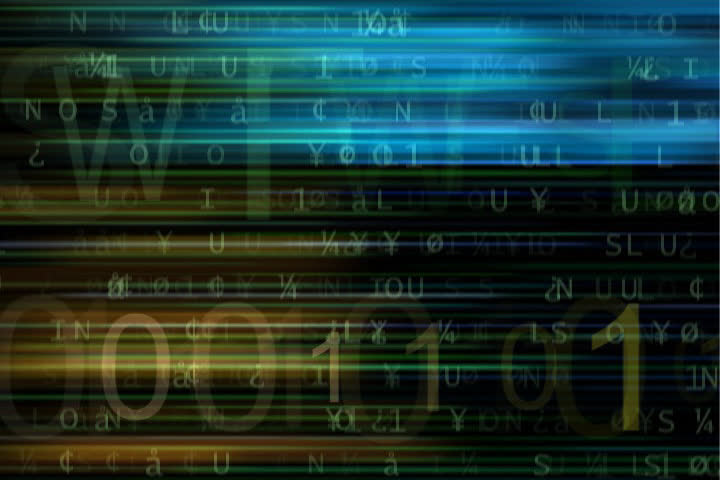 doors open on binary codes flashing on the screen with an alpha numeric background - SD stock footage clip