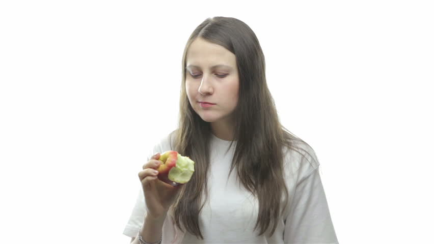 Brunette woman eating apple, sixth video from the series - HD stock footage clip