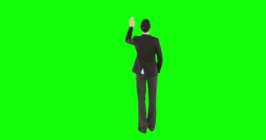 Digital animation of businesswoman on green screen - HD stock video clip