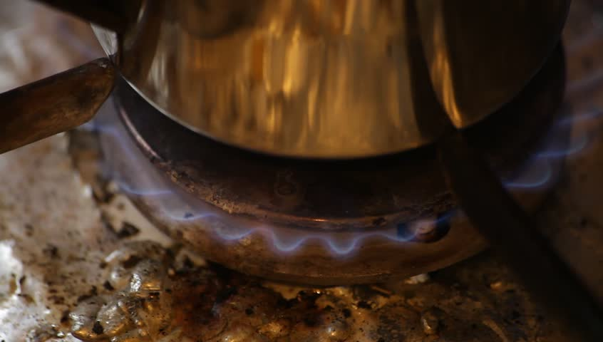 Burner boiling water pot. Focus on flame. - HD stock video clip