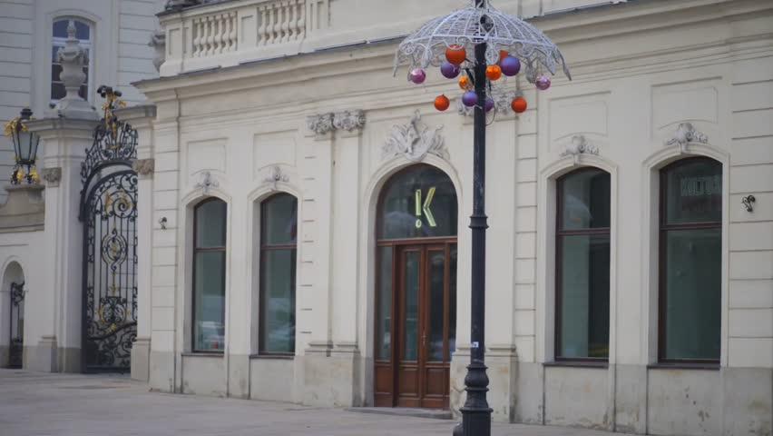 Christmas decoration on Krakowskie Przhedmieskie in Warsaw, Poland. - HD stock video clip