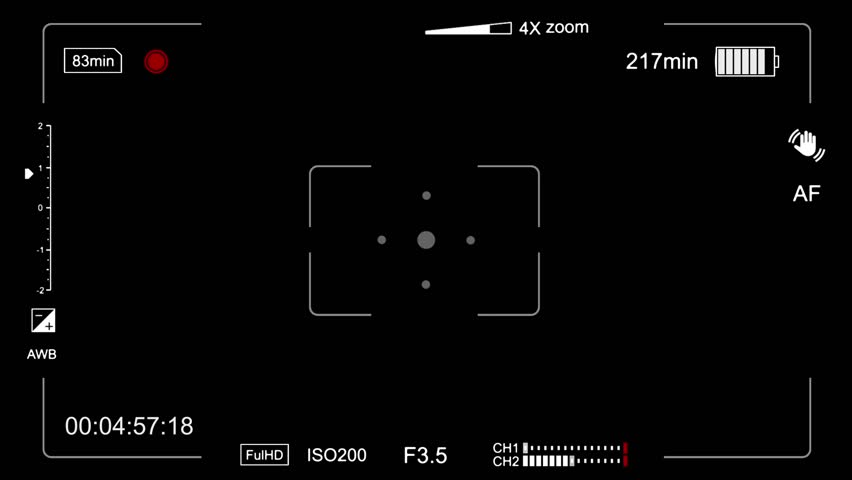 Camera ON, battery check and viewfinder display symbols animation with alpha channel
