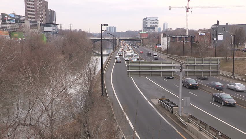 Toronto, Ontario, Canada February 2016 Toronto traffic jam and gridlock on the Don Valley Parkway by don river