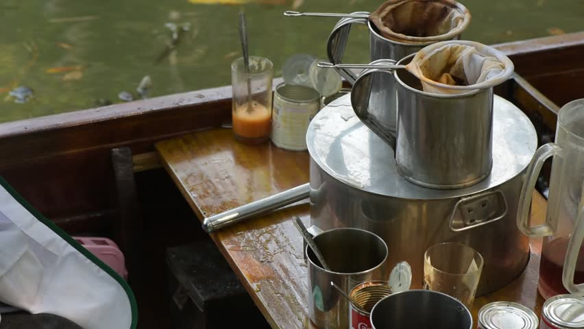 Coffee of vintage, sit on the boat. - HD stock footage clip