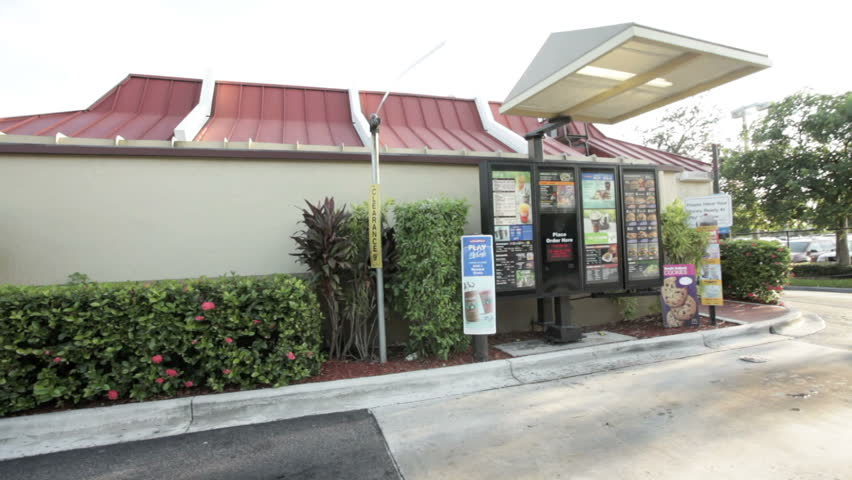 MIAMI, FLORIDA - OCTOBER 3: Camera stabilizer video of McDonald's exterior October 3, 2011, Miami, Florida, United States. McDonald's, under pressure from nutrition advocates, will add a serving of fruit or vegetables to all of the children's meals accord