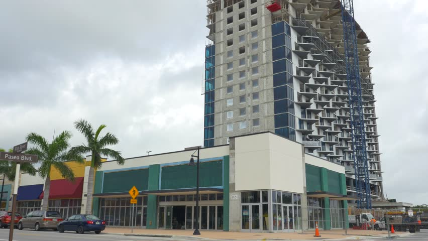DORAL - FEBRUARY 3: Stock video of Downtown Doral which is a newly developed city with near completion mixed use highrise and business space available for rent February 3, 2016 in Doral FL, USA - 4K stock video clip