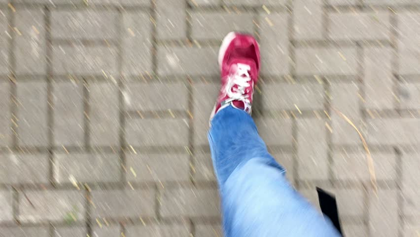 Feet walking on the street with RED shoes POV | Shutterstock HD Video #14454448