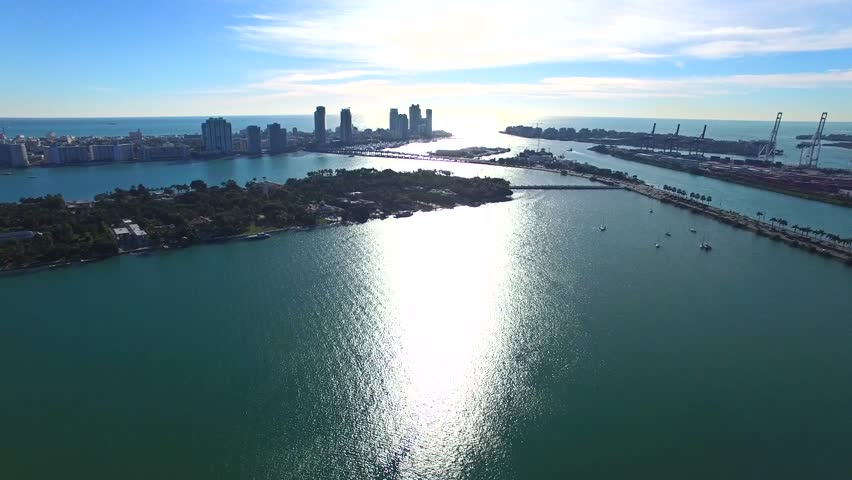 aerial 4k luxury island waterfront homes in miami beach  florida stock footage video 14474320
