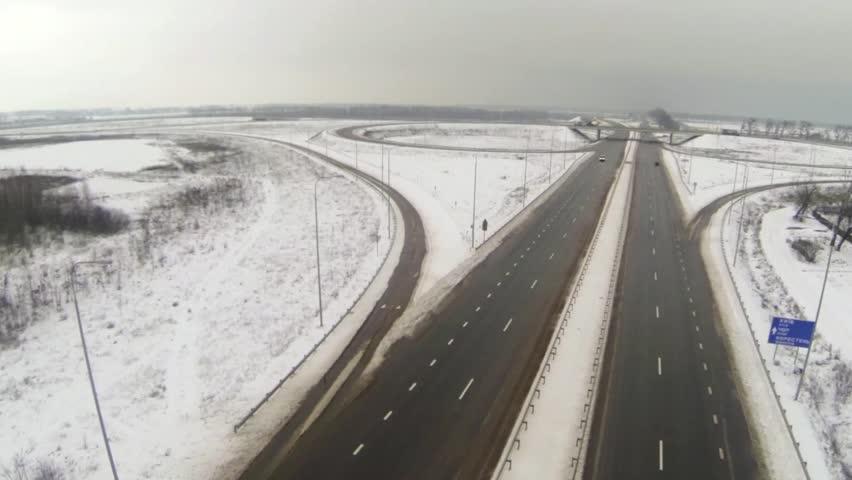 Aerial view of the circular motorway junction - HD stock video clip