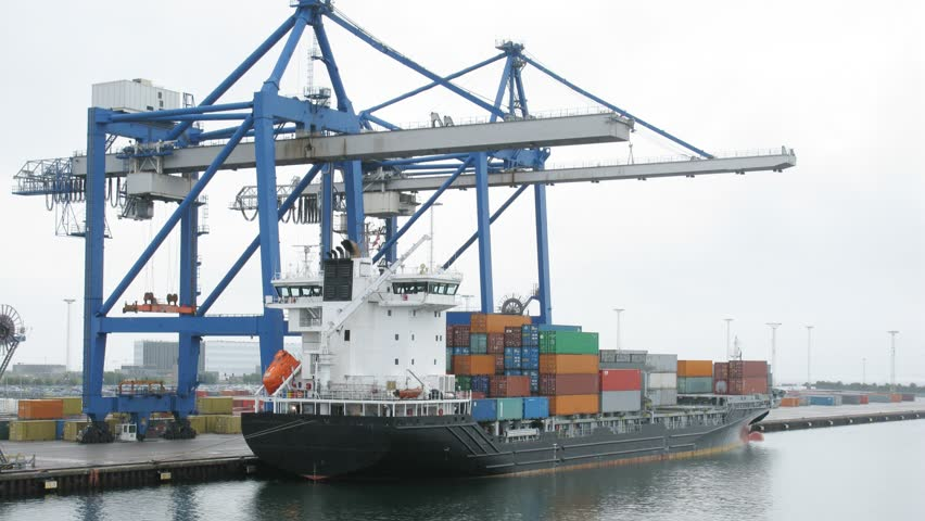 Freight ship loaded with cargo, view from another ship, time lapse - HD stock video clip