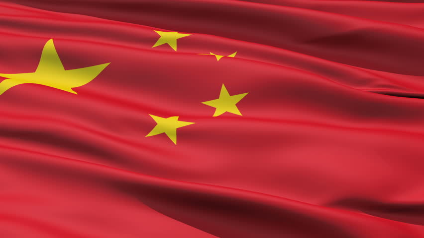 Realistic 3d seamless looping China flag waving in the wind.