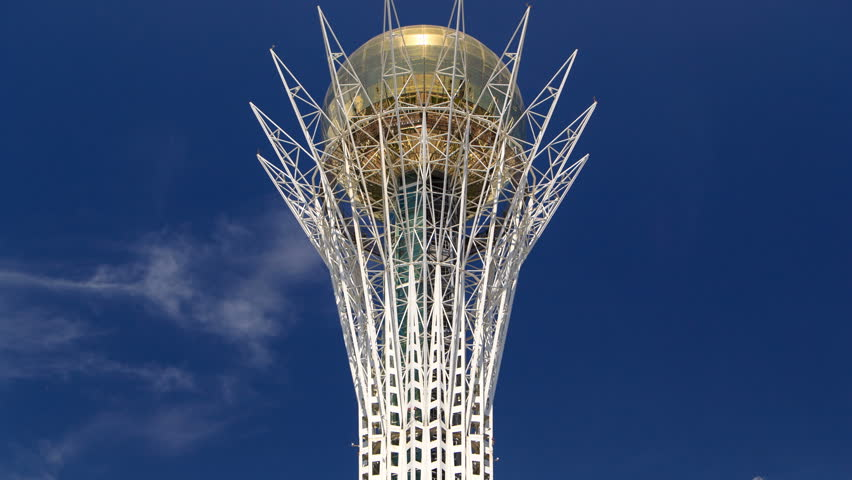 Bayterek timelapse is a monument and observation tower in Astana.  Main symbol of city.