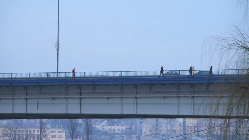 Traffic over Branko's Bridge, Belgrade, Serbia. Side view. Canon 5D MK III - HD stock video clip