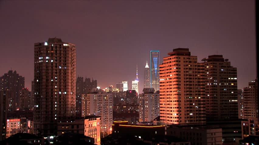Shanghai buildings at night | Shutterstock HD Video #1462606