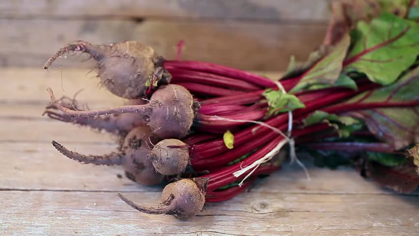 Bunch of raw beetroots just picked from the garden, on wood background.
