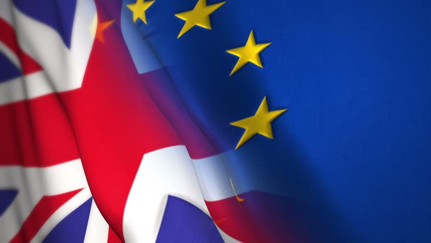 United kingdom and European union flag, British eu referendum to leave the EU, known as the Brexit