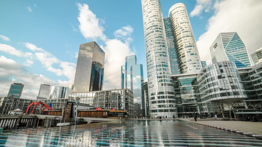 Paris, La defense, Parvis de la Defense, crowd of people ,Paris, building business, Skyscrapers, economy, cloud, time lapse,corporate buildings camera move  | Shutterstock HD Video #14709859