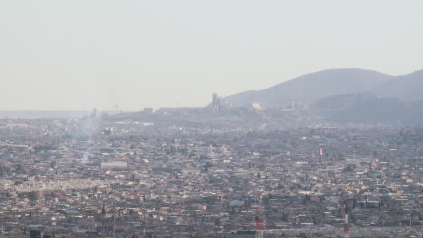 Panoramic wide shot of Juarez, Mexico. - 4K stock video clip