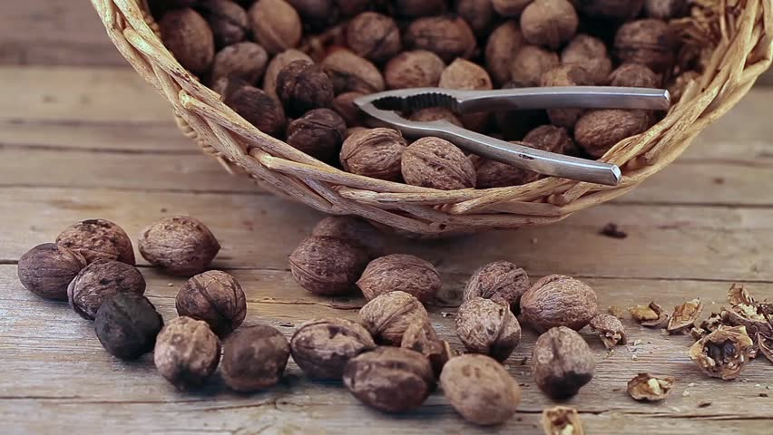 Video clip of walnuts basket and nut cracker.